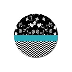 Flowers Turquoise Pattern Floral Magnet 3  (round)