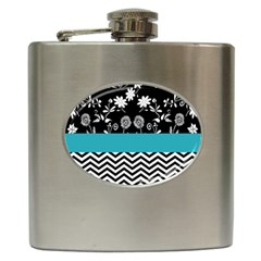 Flowers Turquoise Pattern Floral Hip Flask (6 oz)