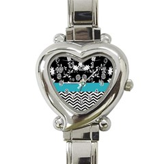 Flowers Turquoise Pattern Floral Heart Italian Charm Watch