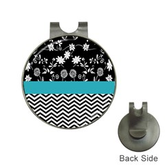 Flowers Turquoise Pattern Floral Hat Clips With Golf Markers