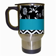 Flowers Turquoise Pattern Floral Travel Mugs (White)