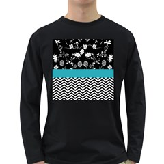 Flowers Turquoise Pattern Floral Long Sleeve Dark T-Shirts