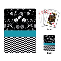 Flowers Turquoise Pattern Floral Playing Card