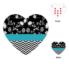 Flowers Turquoise Pattern Floral Playing Cards (Heart)