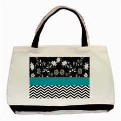 Flowers Turquoise Pattern Floral Basic Tote Bag