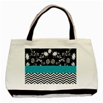 Flowers Turquoise Pattern Floral Basic Tote Bag Front
