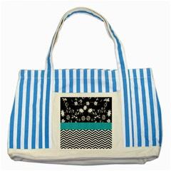 Flowers Turquoise Pattern Floral Striped Blue Tote Bag