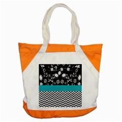 Flowers Turquoise Pattern Floral Accent Tote Bag