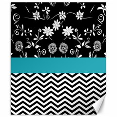 Flowers Turquoise Pattern Floral Canvas 20  x 24
