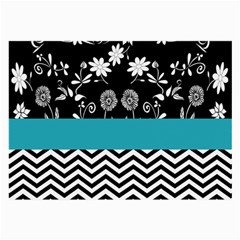 Flowers Turquoise Pattern Floral Large Glasses Cloth (2-Side)