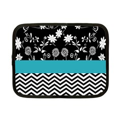 Flowers Turquoise Pattern Floral Netbook Case (Small)