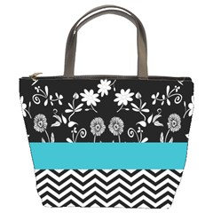 Flowers Turquoise Pattern Floral Bucket Bags