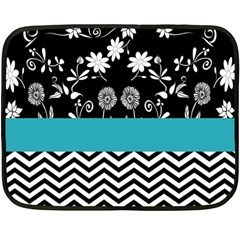 Flowers Turquoise Pattern Floral Fleece Blanket (Mini)