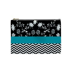 Flowers Turquoise Pattern Floral Cosmetic Bag (medium)