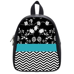 Flowers Turquoise Pattern Floral School Bags (small)