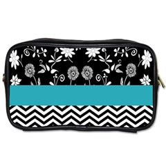 Flowers Turquoise Pattern Floral Toiletries Bags 2 Side