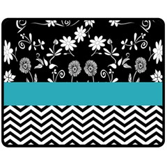 Flowers Turquoise Pattern Floral Fleece Blanket (Medium)