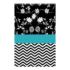 Flowers Turquoise Pattern Floral Shower Curtain 48  x 72  (Small)