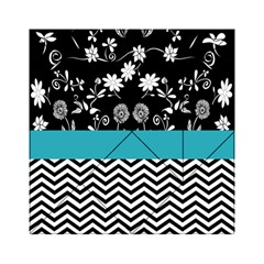 Flowers Turquoise Pattern Floral Acrylic Tangram Puzzle (6  X 6 )