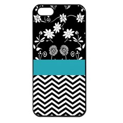 Flowers Turquoise Pattern Floral Apple iPhone 5 Seamless Case (Black)