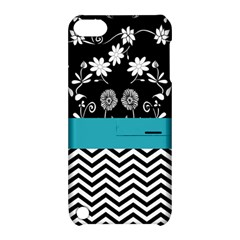 Flowers Turquoise Pattern Floral Apple iPod Touch 5 Hardshell Case with Stand
