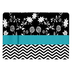 Flowers Turquoise Pattern Floral Samsung Galaxy Tab 10.1  P7500 Flip Case