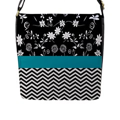 Flowers Turquoise Pattern Floral Flap Messenger Bag (l)