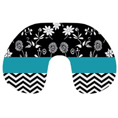 Flowers Turquoise Pattern Floral Travel Neck Pillows