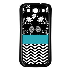 Flowers Turquoise Pattern Floral Samsung Galaxy S3 Back Case (Black)