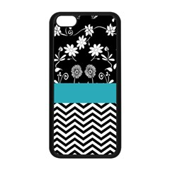 Flowers Turquoise Pattern Floral Apple iPhone 5C Seamless Case (Black)