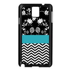 Flowers Turquoise Pattern Floral Samsung Galaxy Note 3 N9005 Case (black)