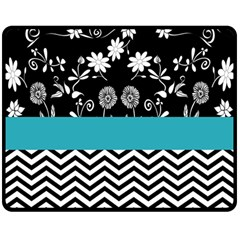 Flowers Turquoise Pattern Floral Double Sided Fleece Blanket (medium)