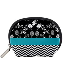 Flowers Turquoise Pattern Floral Accessory Pouches (Small)