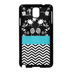 Flowers Turquoise Pattern Floral Samsung Galaxy Note 3 Neo Hardshell Case (Black)
