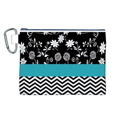 Flowers Turquoise Pattern Floral Canvas Cosmetic Bag (l)