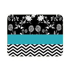 Flowers Turquoise Pattern Floral Double Sided Flano Blanket (Mini)