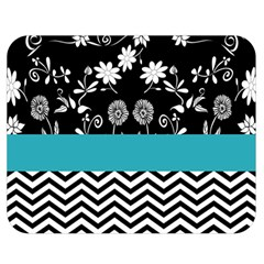 Flowers Turquoise Pattern Floral Double Sided Flano Blanket (Medium)