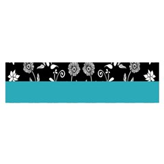 Flowers Turquoise Pattern Floral Satin Scarf (Oblong)