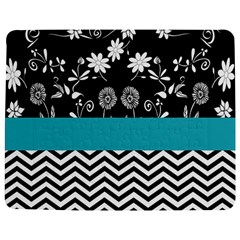 Flowers Turquoise Pattern Floral Jigsaw Puzzle Photo Stand (Rectangular)