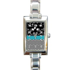Flowers Turquoise Pattern Floral Rectangle Italian Charm Watch