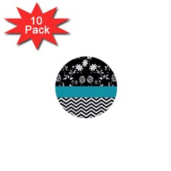 Flowers Turquoise Pattern Floral 1  Mini Buttons (10 pack)