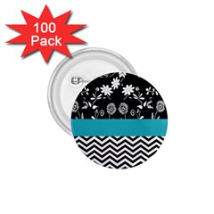 Flowers Turquoise Pattern Floral 1.75  Buttons (100 pack)