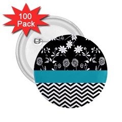 Flowers Turquoise Pattern Floral 2 25  Buttons (100 Pack)