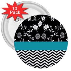 Flowers Turquoise Pattern Floral 3  Buttons (10 Pack)