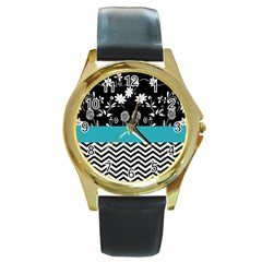 Flowers Turquoise Pattern Floral Round Gold Metal Watch