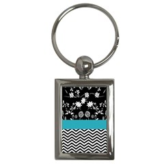Flowers Turquoise Pattern Floral Key Chains (rectangle)