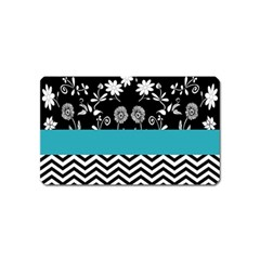 Flowers Turquoise Pattern Floral Magnet (name Card)
