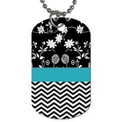 Flowers Turquoise Pattern Floral Dog Tag (Two Sides)