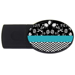 Flowers Turquoise Pattern Floral USB Flash Drive Oval (2 GB)