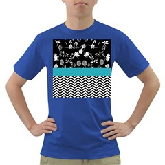 Flowers Turquoise Pattern Floral Dark T-Shirt